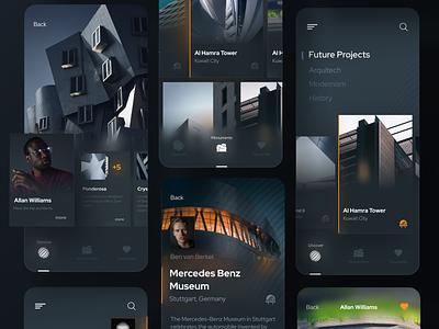 Architectural Projects Concept building architect architecture futurism futuristic darkmode uidesign mobile minimal