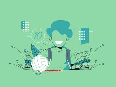 Uol Viva Bem web kid student vector illustration