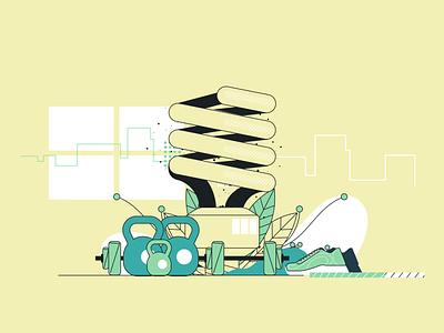 Uol Viva Bem light illustrator fitness web illustration