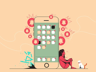 Uol - Productivity mobile cat illustrator vector illustration