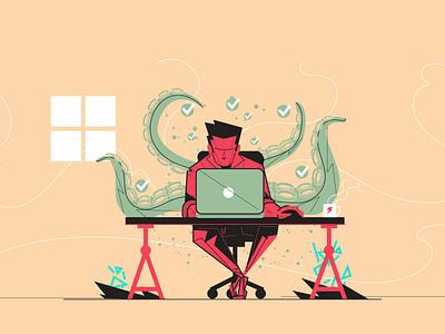 Uol - Productivity work vector web illustration
