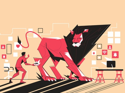 Uol - Productivity web homeoffice lion vector illustration