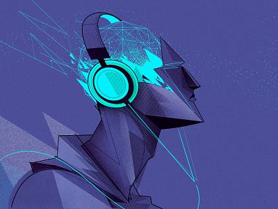8D Music future headphones music illustrator illustration