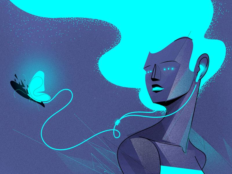 ASMR light headphones girl future illustrator vector web illustration