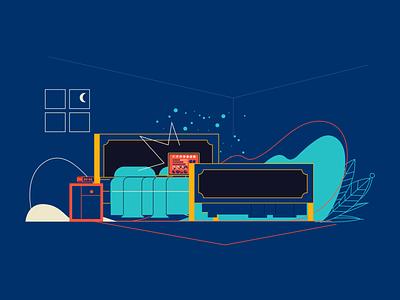Uol Viva Bem night hour sleep illustrator vector illustration