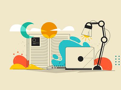 Uol - Learning school book learning vector illustration