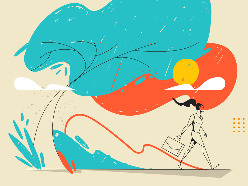 Uol - Learning web girl brazilian illustrator vector illustration