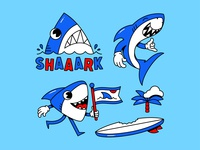 Shaaarks Mascot Pack 🦈 typography shark mascot vector branding flat simple character shadow logo icon illustration