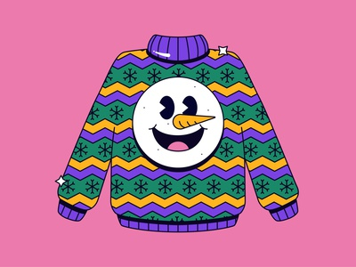 GoDaddy - Ugly Sweater design simple graphic icon character shadow cute pattern sweater snowman xmas illustration
