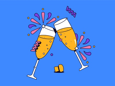Cheers graphic drinks champagne new year hny flat simple character shadow logo icon illustration
