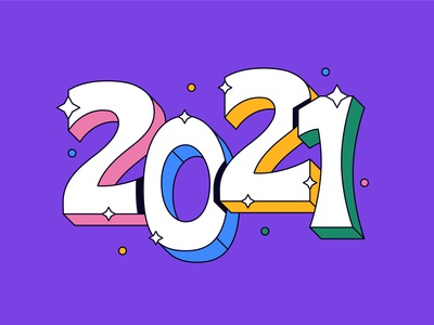 2021 branding flat simple character shadow logo typography icon illustration new year 2021