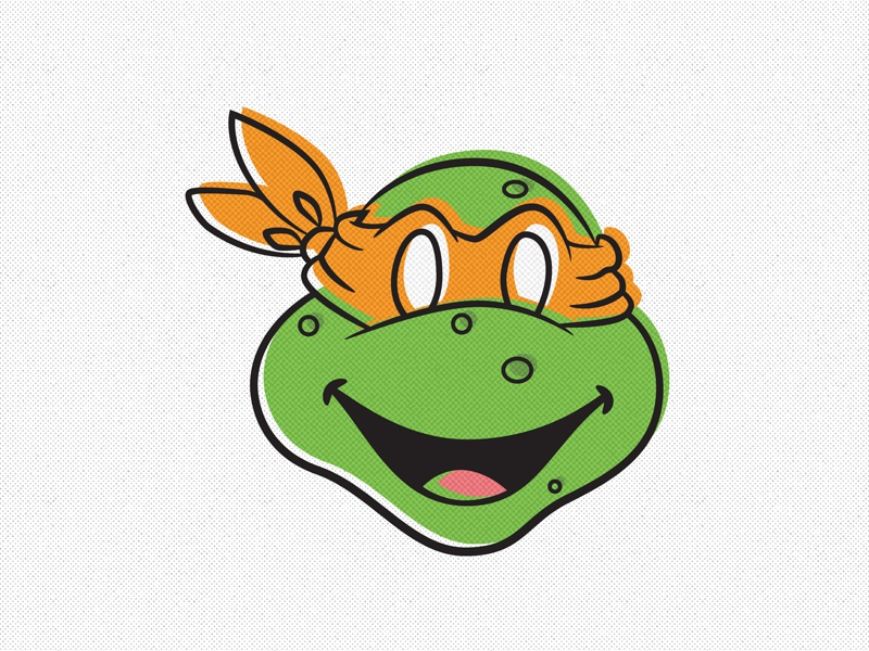 Day 1 - Teenage Mutant Ninja Turtles - Michelangelo icon illustration screen print colour character vector turtle cult flat logo