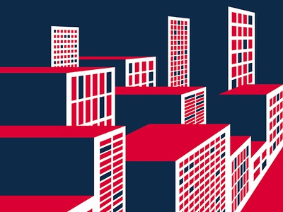 One Point Buildings red nyc web window view perspective wip architecture icon colour bold building