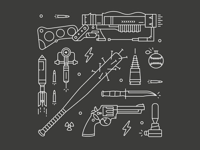 Fallout 4 Icons - Part I wip laser game iconography logo weapon gun illustration simple fallout icon