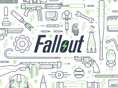 Fallout 4 - Full Illo pattern wip weapon simple logo laser illustration iconography icon gun game fallout