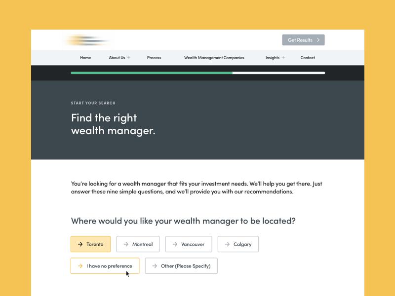 Questionnaire Form Design investment wealth web design choice question ux ui design select box form questionnaire