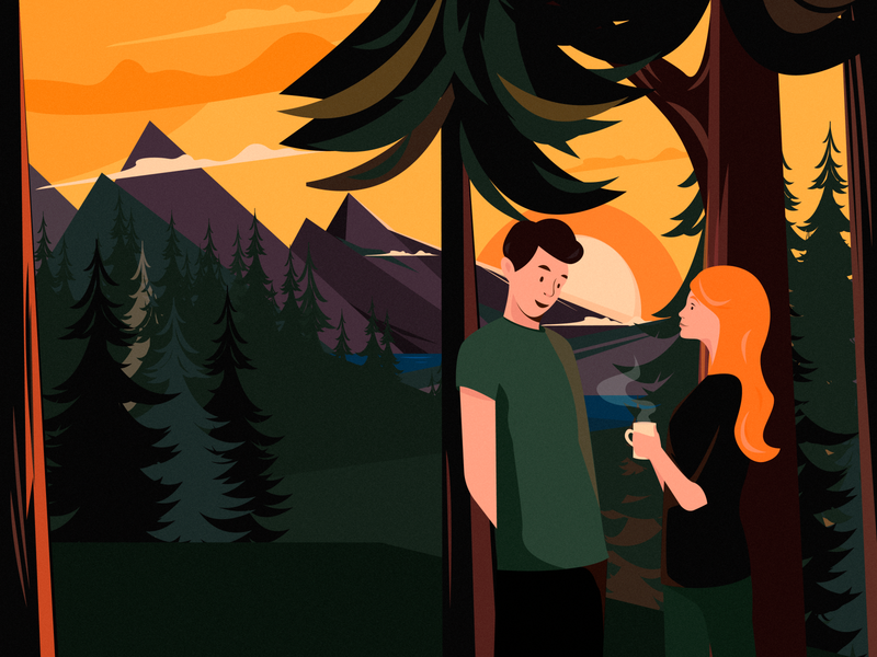 At Sunset man calm fresh relax green clouds sky mountain forest tea sunset pair woman graphic color character design vector art illustration