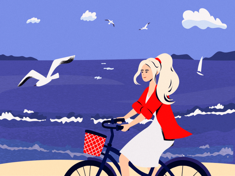 On bike colorful wind air sand clouds breeze hair waves sea blue gull ocean beautiful girl graphic character design vector art illustration