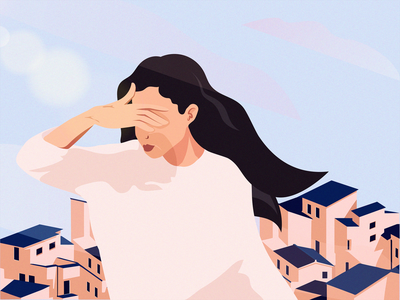 Roofs up buiding lips sky blur cloud sunny hand hair roof color graphic vector illustration art woman girl beautiful design character