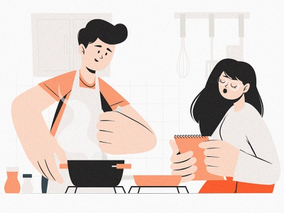 Cooking story room notebook hands smell mood orange person faces kitchen checklist cook graphic light characters color character design vector art illustration