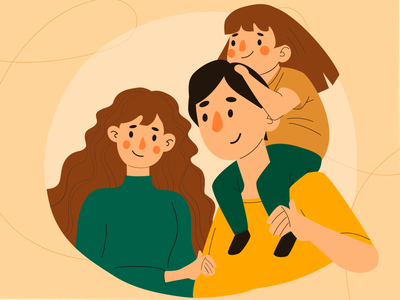 Fam💛 yellow calm fun hair hand smile dad mom child daughter family clothes beautiful color characters graphic design vector art illustration