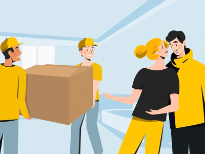 Transportation service worker family yellow digitalart box clothes service man woman graphic color character vector art illustration