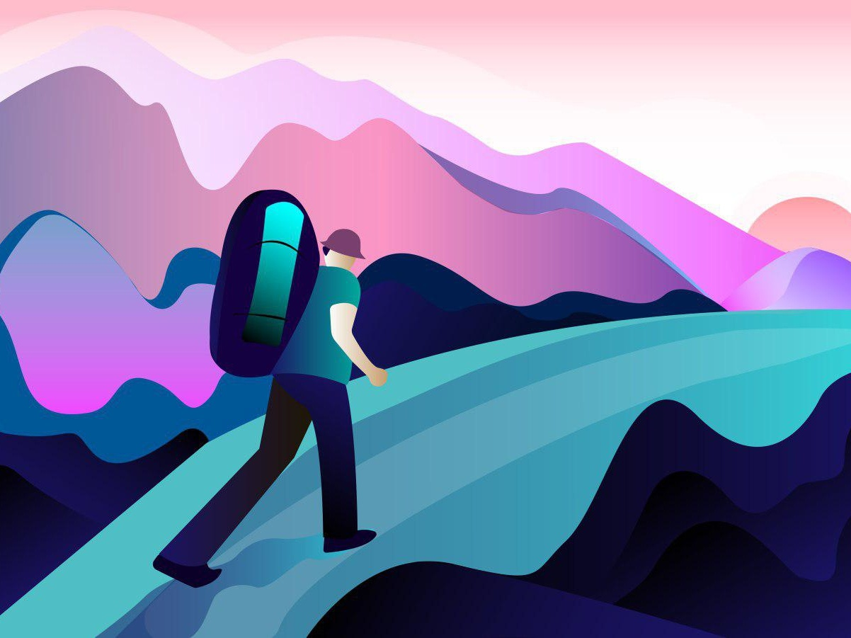 Mountain pleasure road sunset gradient power mountain beautiful graphic ux ui color breath summer characters character design vector illustration art