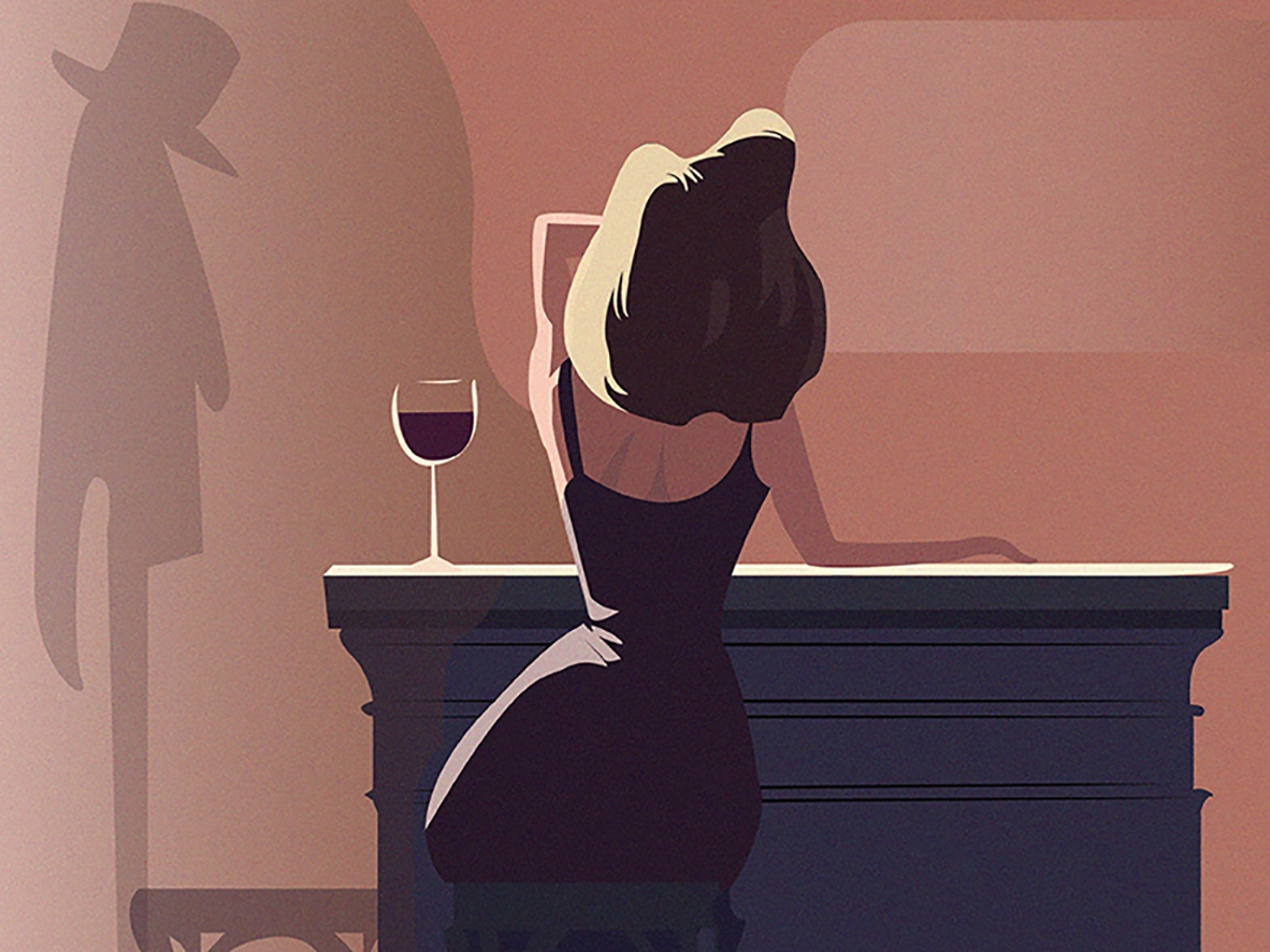 Wine time body home evening lady wine glass wine dress gradient clothes dribbble color graphic beautiful girl vector characters character art design illustration