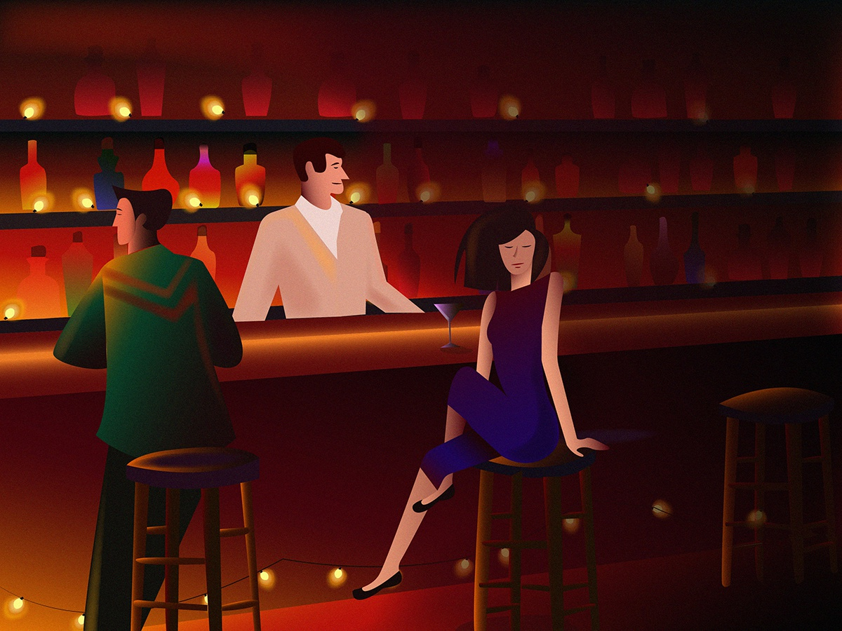 Bar evening night bottle alcohol coctail bar bartender vector color clothes dribbble gradient beautiful art design girl character graphic characters illustration
