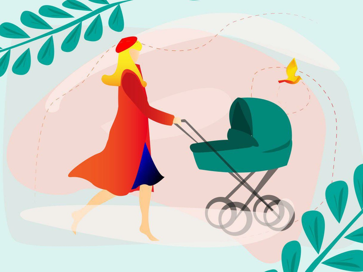 Mom❤️ blond green nature walk bird child baby coat buggy dribbble gradient beautiful art color woman girl mother character vector illustration