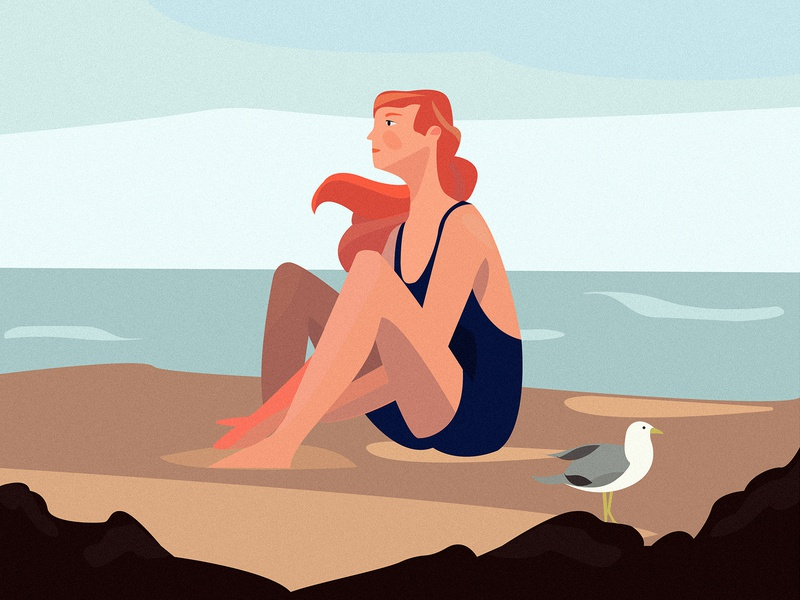 Immersion breath beauty ocean bird hair sand summer water coast character sea graphic vector art girl illustration design color