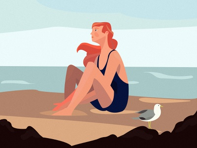 Immersion breath beauty ocean bird hair sand summer water coast character sea graphic vector art girl illustration design color