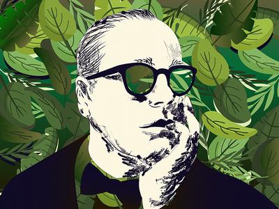 Jungle character vector ui design graphic color portrait art portrait glasses man cartoon man green jungle art illustration arthouse