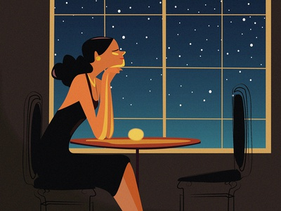 Evening🔮 light relax caffe evening night snow window ui lady woman beautiful gradient graphic girl color character vector design art illustration