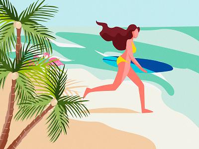 Ocean Spirit wave sun sand water sunny palm surf flamingo summer breath girl woman beautiful graphic color character vector design art illustration