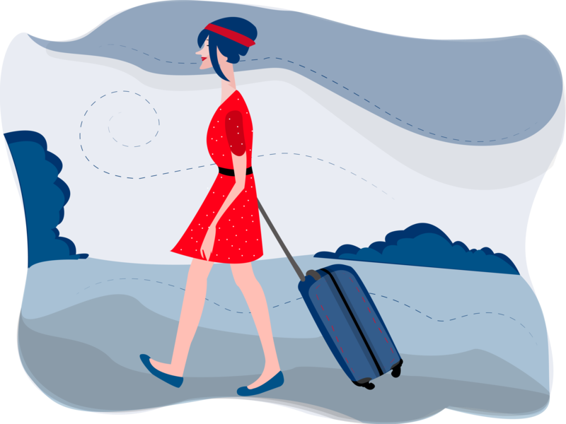 On The Way ui beautiful colour blue woman clothes girl graphic character suitcase sky dress red going way color vector design art illustration