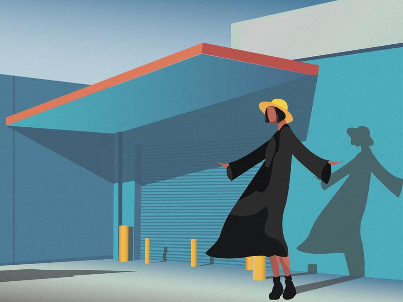 Garage character hat yellow windy noon shadow blue garage colorful art digital 2d graphic  design gradient woman beautiful girl color vector design art illustration