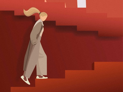 Up! upward light shaddow hair beautiful style graphic dribbble clothes characters gradient woman step girl color character vector design art illustration