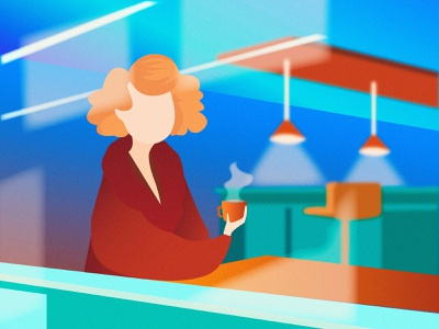 Tea Time graphic clothes tea relaxation calm coats curves evening window reflection light beautiful gradient woman color character vector design art illustration