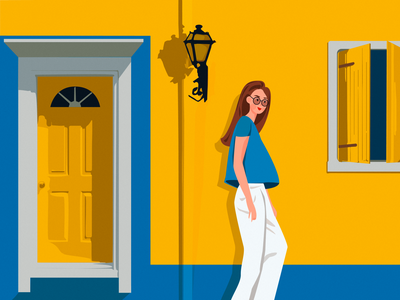 Somewhere in Girona warm sunny yellow beautiful character colorful bright window door spain woman girl color vector art illustration