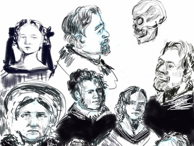 dageurrotype people sketch illustration
