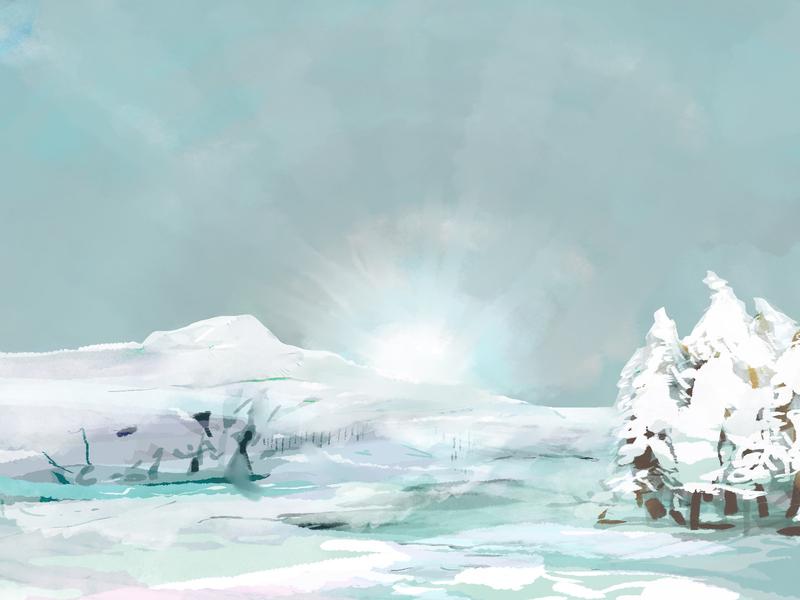 Winter digitalpainting landscape illustration