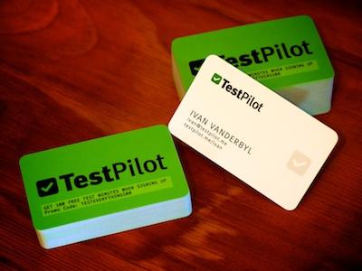 TestPilot business cards business cards testpilot green white wood tick