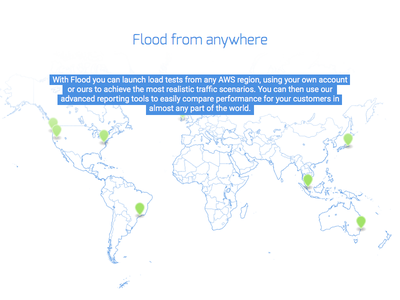 Flood from anywhere flood water map globe aws markers blue white clean
