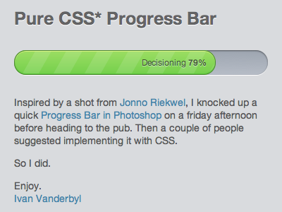 Pure CSS Progress Bar progress texture green bar inset stripe ui control