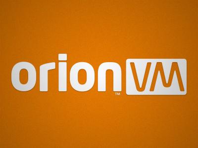OrionVM logo orionvm cloud logo orange white typeface custom