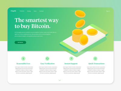 Bitcoin App Landing Page design finance flat web gradients illustration webdesign ui sketch