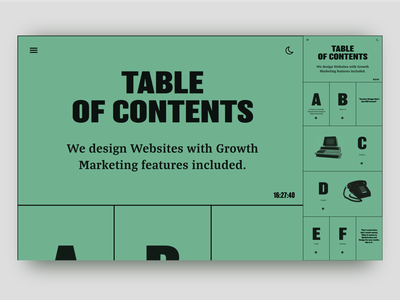Table of Contents Responsive Website responsive design landing page webdeisgn ux ui graphicdesign design branding