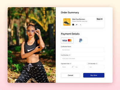 #DailyUI Challenge • Day 2 • Checkout Page nike shoes uiuxdesign uidesign ui designer gradient payment method payment form checkout screen ecommerce design ecommerce shop ecommerce checkout page checkout form checkout daily 100 challenge dailyuichallenge dailyui uiux ui ui design