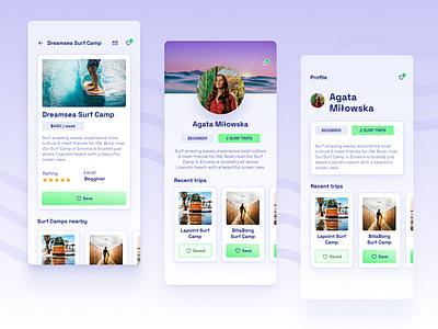 🏄♀️ Surf Camps Mobile App •Find your Surf Camp mobile mobile ui surf camps surf surfer surfing mobile app ui dailyuichallenge dailyui daily 100 challenge ui designer ui design uiux
